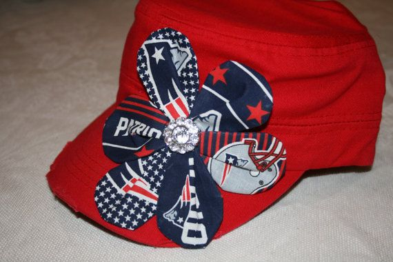 Red NEW ENGLAND PATRIOTS Bling Cadet Military by SewUniqueGifts4U