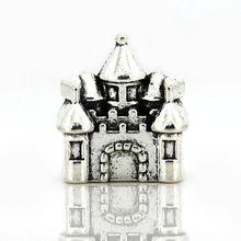 Бесплатная доставка европейский сплава замок дом серебряный бусины очарование подходят бандуры женщин DIY браслеты и браслеты ожерелье ювелирные изделия YW15610(China (Mainland))