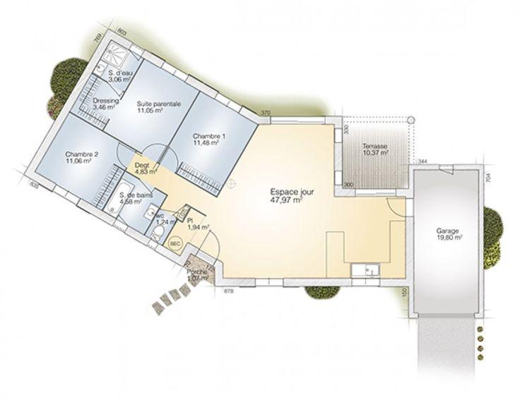 Awesome plan maison neuve construire maisons france for Construire une maison de 100m2