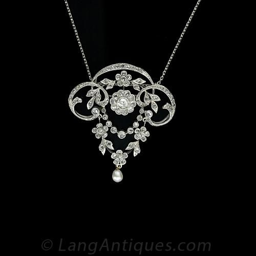 Delicate Platinum Diamond and Pearl Edwardian Lavaliere Necklace
