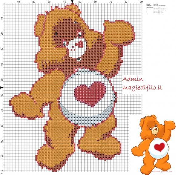 Tenderhearth Bear Care Bears free cross stitch pattern (click to view)