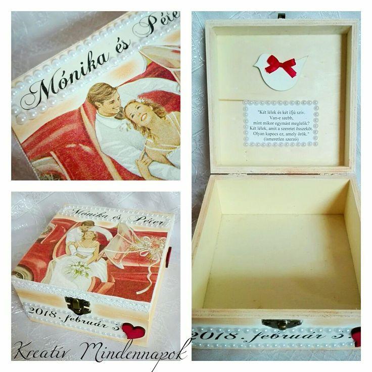 👰🤵💍💒Esküvő volt a hétvégén... Az egyik kedves rokon ebben az elegáns díszdobozban adta át ajándékát (nászajándékpénzt) az ifjú párnak 👰🤵💍💒 #esküvő #ajándék #díszdoboz #névreszóló #egyedi #ajándékötlet #kreativajandek #kreatív #szalvetatechnika #decoupage #decoupageart #weddingtime #kreativmindennapok