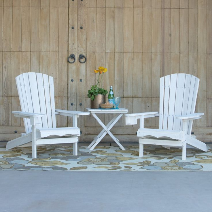 Coral Coast Big Daddy Adirondack With Pull Out Ottoman 2 Chair Set With  FREE Side