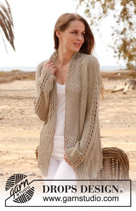 """Free pattern: Knitted DROPS jacket in """"Bomull Lin"""" or """"Paris"""". Size: S - XXXL. ~ #DROPSDesign #Garnstudio"""