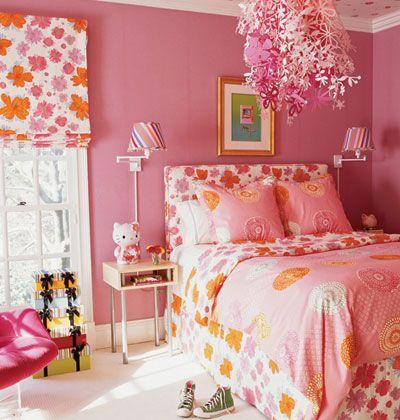 Pink and orange girls bedroom