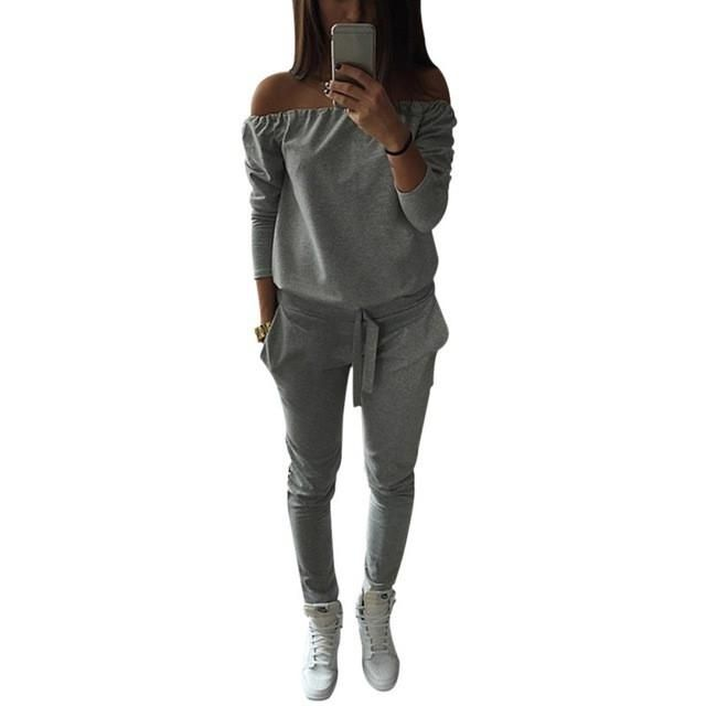 Word Shoulder For Jogger Casual Women Tracksuit Sportswear Tops & Pants Sweatshirt