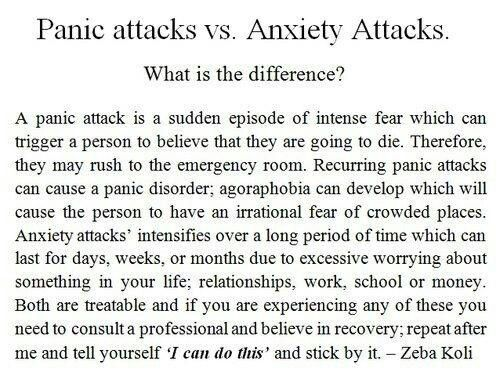 panic attacks vs anxiety attacks. I actually get both of these. My throat closes up and my heart beats really fast when I have panic attacks. When I get anxiety attacks I feel suicidal and dizzy plus I hyperventilate, shake, stutter and hit myself. I think I had one this time because I've had summatives (70% of my grade) every day of the week so far. I only got around an half an hour of sleep each night because I stayed up late to finish each project and I wake up at 4:30 every morning to…
