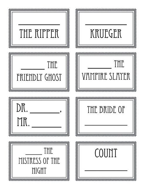 halloween party name tags