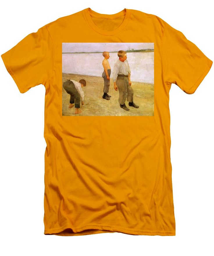 Boys Men's T-Shirt (Athletic Fit) featuring the painting Boys Throwing Pebbles Into The River 1890 by Ferenczy Karoly