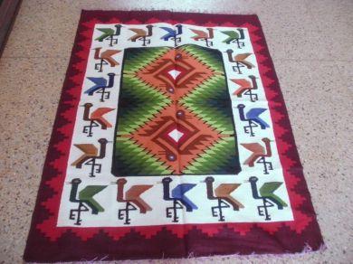 #Farbenfroher #peruanischer #Webteppich aus #Merinowolle  150 x 110 cm