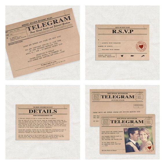vintage telegram printable wedding stationery set invitation