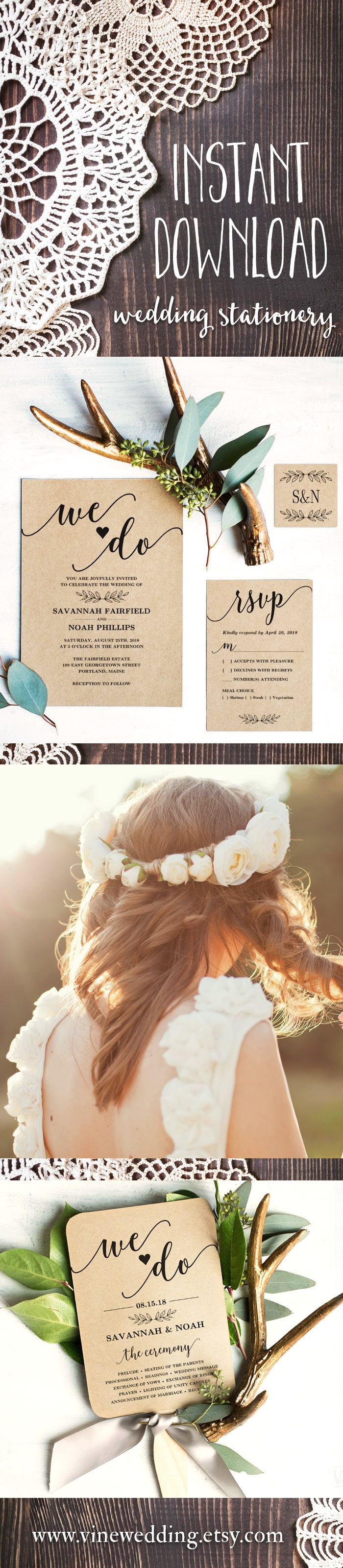 Boho Rustic Wedding Invitation. Printable and editable wedding stationery templates. #Wedding #invitations #invitation #vinewedding #printable #rustic #printable #template #diy #ideas #idea #budget #invites #wording #vintage #kraft #boho
