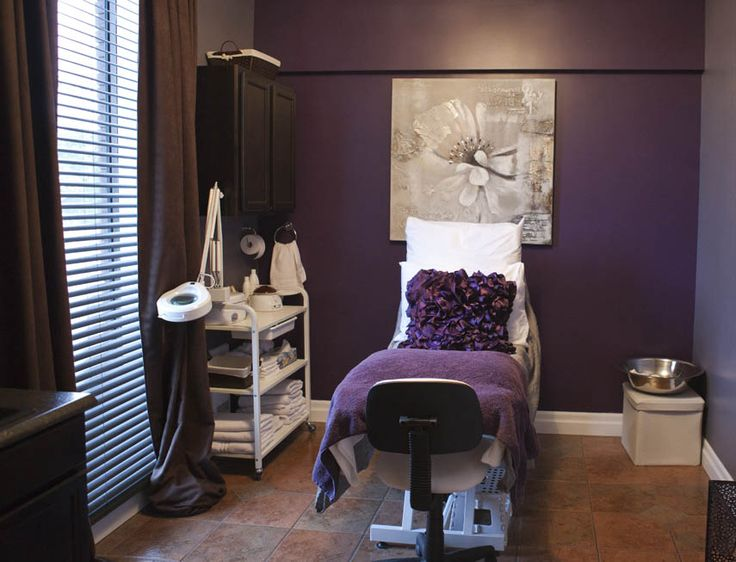 Beautiful deep purple esthetician room. THIS is what I would want my treatment room to look like...
