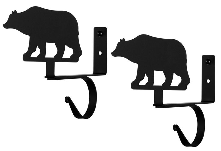 Wrought Iron Bear Curtain Rod & Shelf Brackets