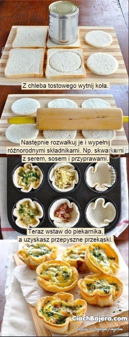 Śniadaniowe muffiny z tostów