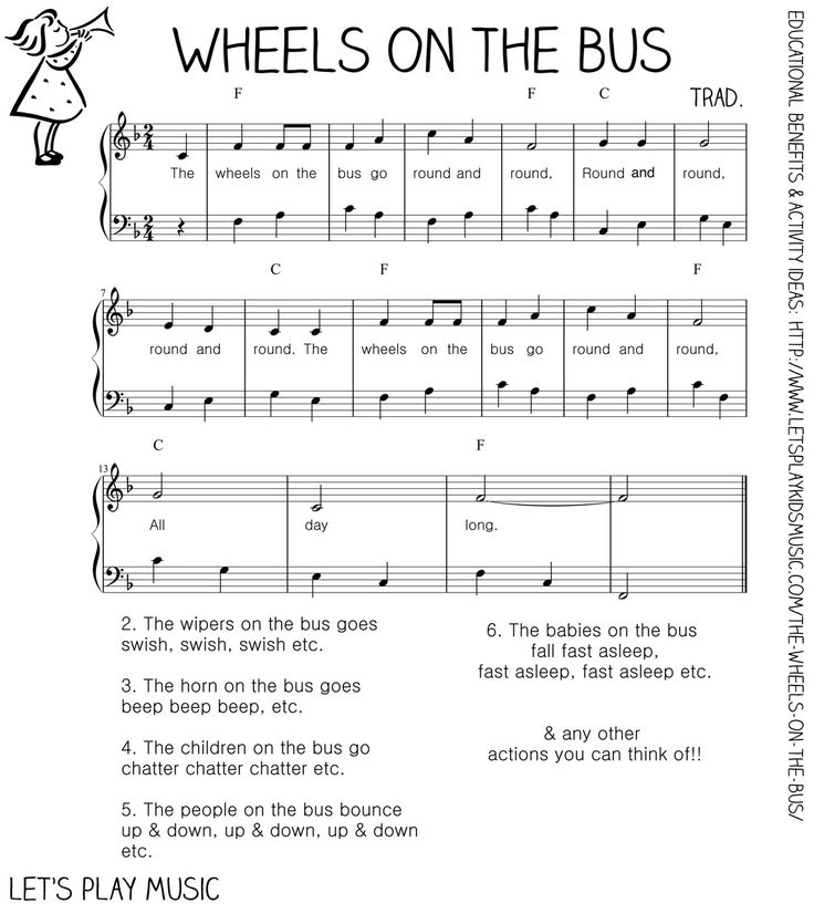 Let S Play Music Free Sheet The Wheels On Bus Numerous Pre School Songs And Ideas All