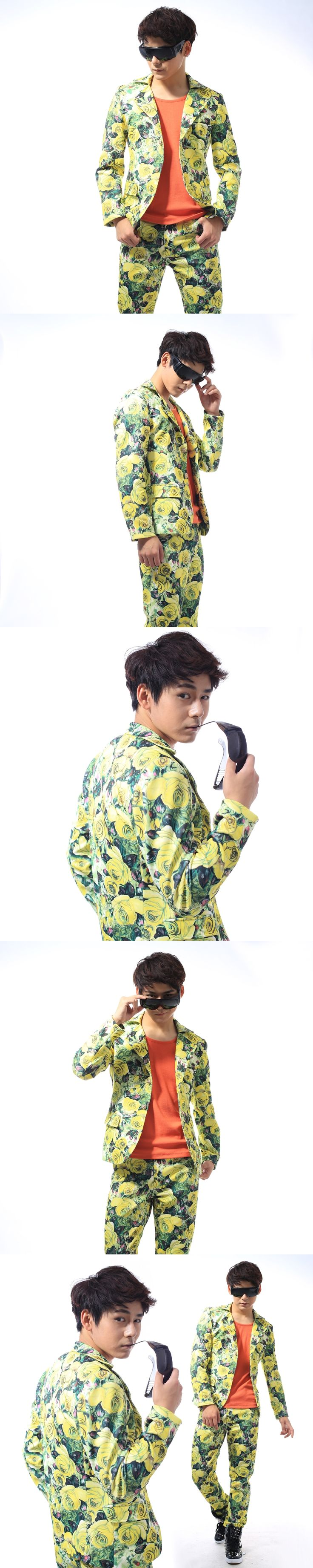 S-5XL!!!  2017   Printed men suit men's clothing Club broken beautiful suit men's cultiv  The singer's clothing