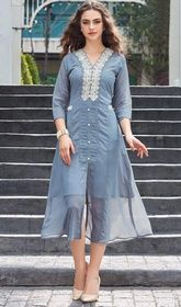 Gray Color Embroidered Georgette Tunic #plussizetunics#indiantunicdress High quality craftsmanship in this gray color embroidered georgette tunic. The appealing lace and resham work a vital feature of this attire. USD$ 61(Around £ 42 & Euro 46)
