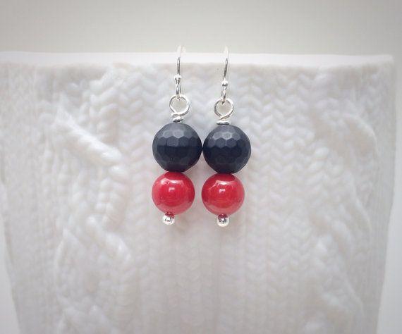 simple modern geometric black and red earrings by MadebyGraham