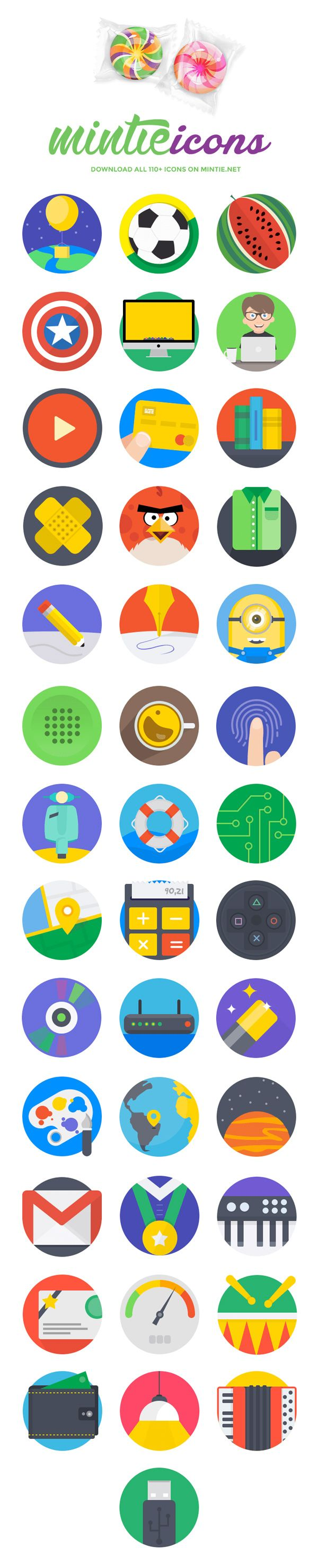 Mintie – 40 Flat Fresh Icons | GraphicBurger