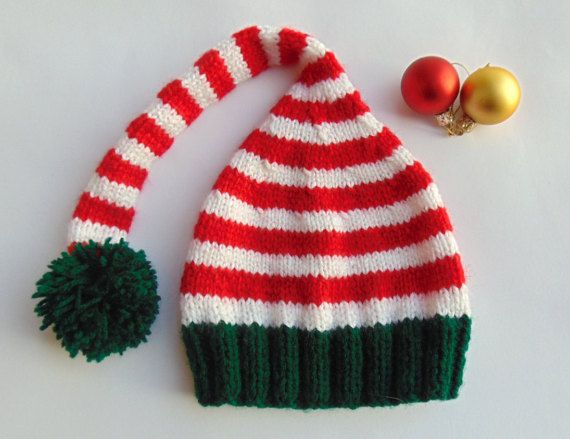 Christmas Baby Elf Hat Red Winter Santa Cap Rudolph by MaddaKnits