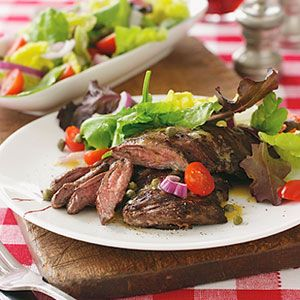 Marinated Skirt Steak and Salad