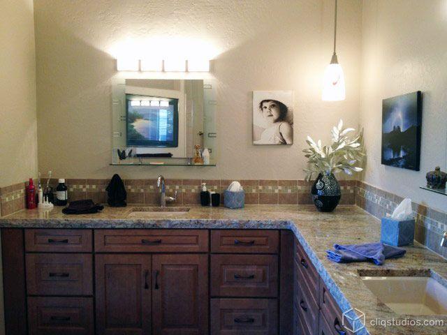 Cambridge Maple Caramel Bathroom Cabinets From CliqStudios.com