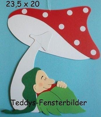 Teddys Fensterbilder 552´ Wichtel unterm Pilz` Tonkarton