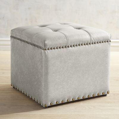 Square Gray Ottoman with Nailhead Trim | Pier 1 Imports