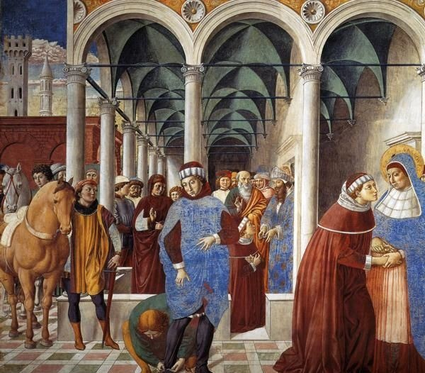 ❤ - BENOZZO GOZZOLI (1421 - 1497) - St. Augustine - Arrival of St. Augustine in Milan. 1464-65. Fresco. 220 x 230 cm. Apsidal Chapel of Sant' Agostino, San Gimignano, Italy.