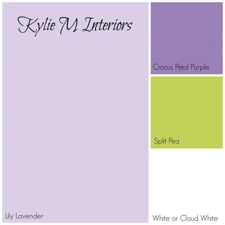 paint colour palette for girls room using benjamin moore lily lavender purple, crocus petal purple, split pea and white