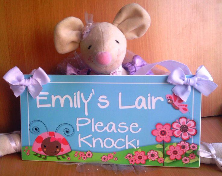 pretty ladybug and cute pink flowers on garden baby door sign – pink girls bedroom decor – personalised kids door signs – PL19
