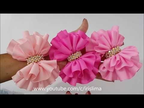 Rose kanzashi . Barrette elegante con un ramo de rosas MK / DIY  - YouTube