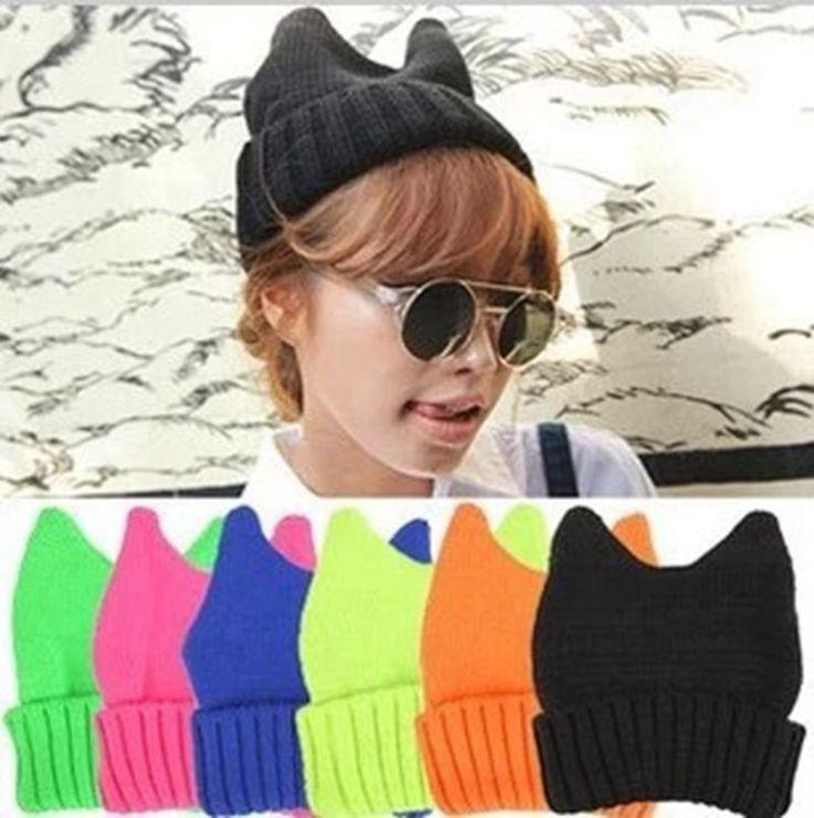 $2.95 (Buy here: https://alitems.com/g/1e8d114494ebda23ff8b16525dc3e8/?i=5&ulp=https%3A%2F%2Fwww.aliexpress.com%2Fitem%2FWinter-Warm-Women-Men-Knitting-Wool-Hat-Fluorescence-Color-Lovely-Cat-Ears-Outdoors-Solid-Elastic-Beanie%2F32761239320.html ) Winter Warm Women Men Knitting Wool Hat Fluorescence Color Lovely Cat Ears Outdoors Solid Elastic Beanie Caps Bonnet  for just $2.95