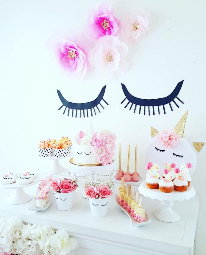 Sleepy Unicorn Dessert Table From A Sweet Unicorn Birthday
