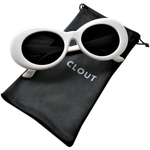 Clout Goggles and Clout Case HypeBeast Oval Sunglasses Mod Style Kurt... ($8.99) ❤ liked on Polyvore featuring accessories, eyewear, sunglasses, white sunglasses, oval sunglasses, white glasses, mod glasses and mod sunglasses