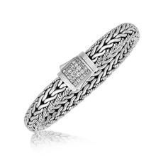 Sterling Silver Braided Design Men's Bracelet with White Sapphire Stones P150-04187-8.25
