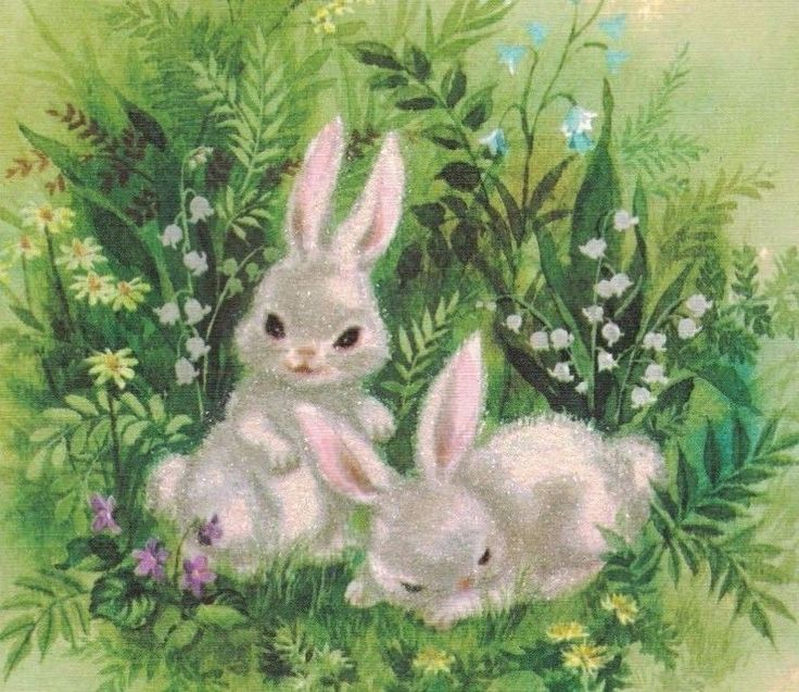 0317C VTG EASTER HALLMARK CARD two WHITE GLITTER RABBITS HONEYCOMBED PINK EGG FOR SALE • $9.23 • See Photos! Money Back Guarantee. VINTAGE GREETING CARD A very nice vintage Easter Greeting Card for a wonderful Mother and Dad. This shows two sweet white bunny rabbits surrounded by wild flowers and grass, The 152556874226