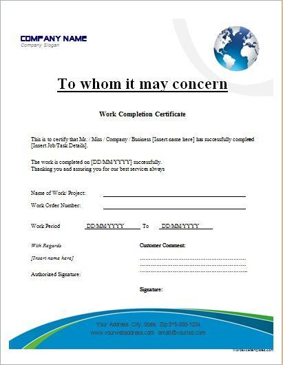 work completion certificate template for ms word business formats