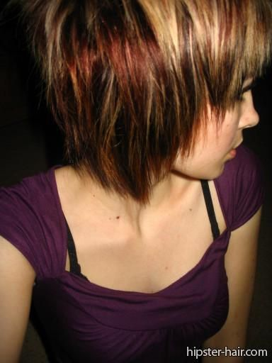 brown blonde short straight highlights layers hair