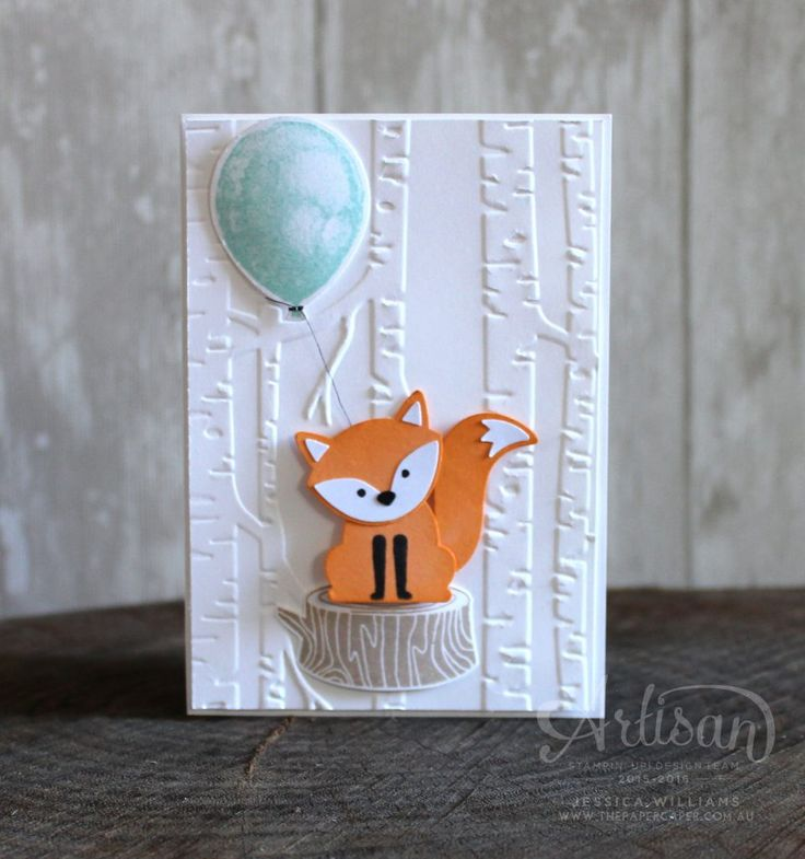 There are loads of other Stampin' Up! products that coordinate well with the A Little Foxy suite such as the Woodland Textured Impressions Embossing Folder ~ Jessica Williams