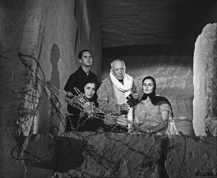 To the wire... Clergue photographed Cocteau's film Le Testament D'Orphee in 1959 – here, Picasso poses with Miguel Dominguin, Jacqueline Picasso and Lucia Bose. (Lucien Clergue/Beetles+Huxley)