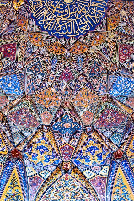 Beautiful art on wall. Wazir Khan mosque, Lahore, Pakistan