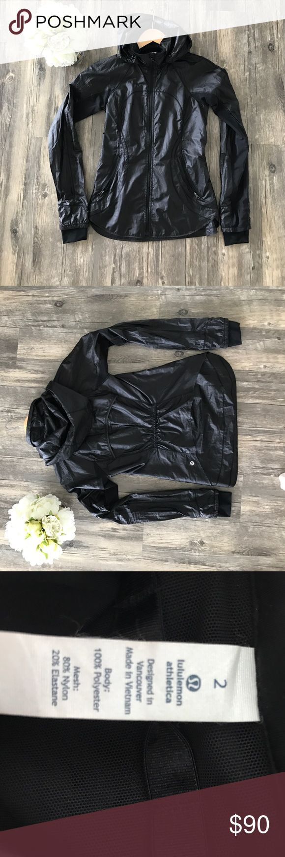 Lululemon Lightweight Jacket Black lightweight waterproof jacket. Mesh inserts in sleeves. Only worn once. Perfect condition. lululemon athletica Jackets & Coats