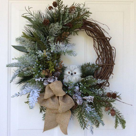Owl Wreath-Christmas Wreath-Holiday Wreath-Winter Wreath-Natural Christmas-Natural Wreath-Designer Decor-Burlap Wreath-Woodland Wreath