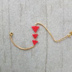 Bracelet ★ fanions carmin ★ doré à l'or fin 24k
