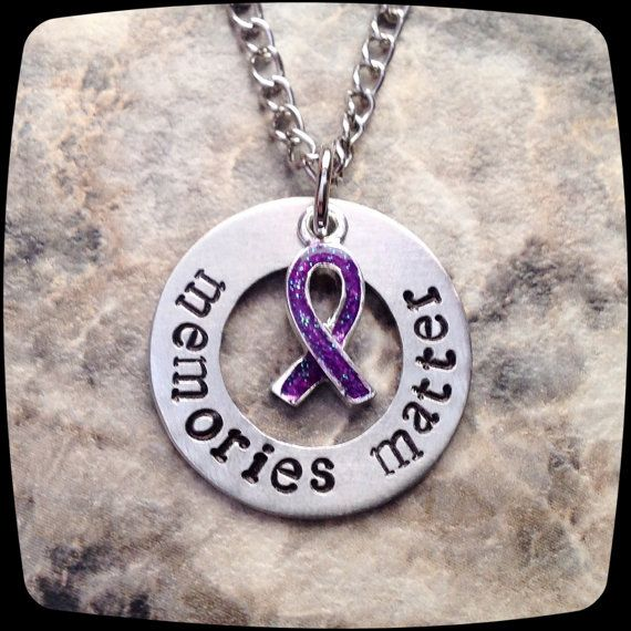 Alzheimer's awareness necklace jewelry by ThatKindaGirl on Etsy
