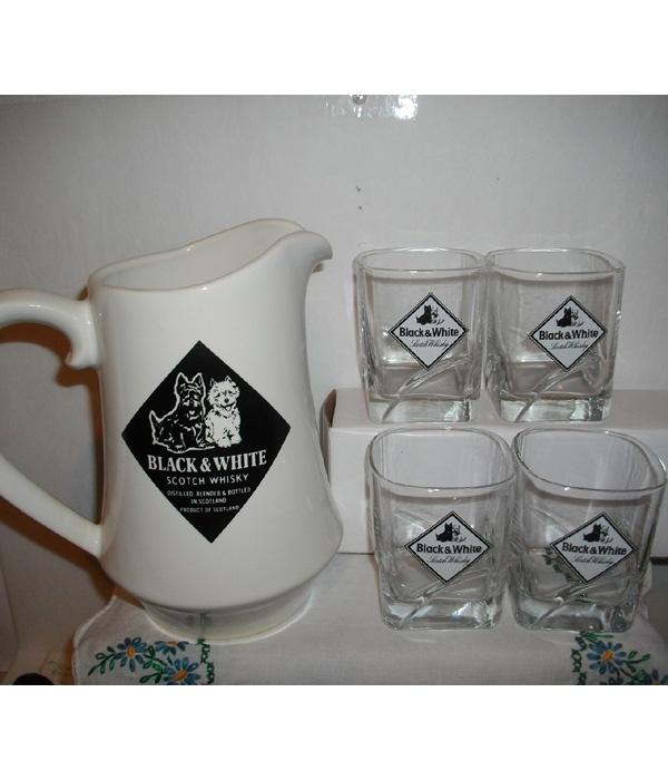 Black & White Scotch Whisky Scottie & Westie Pitcher & Glasses Set