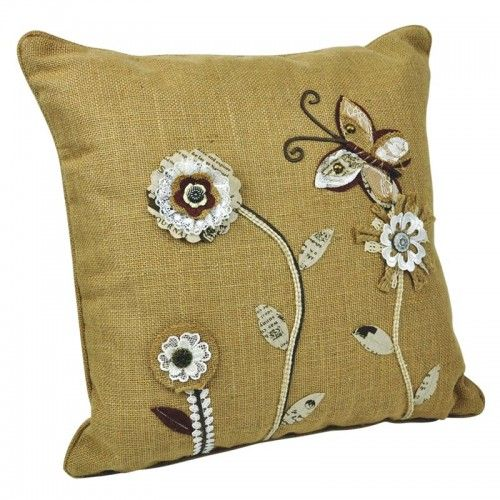 Linen & Polyester Embroidered Pillow - Brown $74 AUD