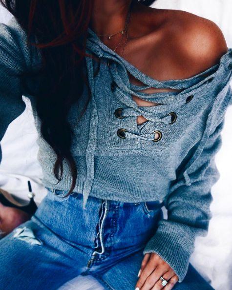 lace up sweaters + denim